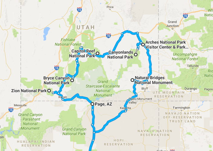 The Mighty Five Utah Map.Utah S Mighty Five Roadtrip Summary Nightborn Travel